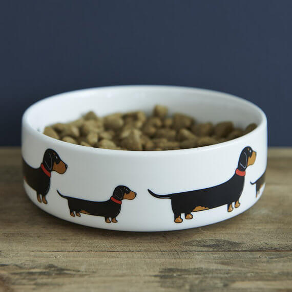 Minimalist Breed Design Ceramic Dog Bowl From London