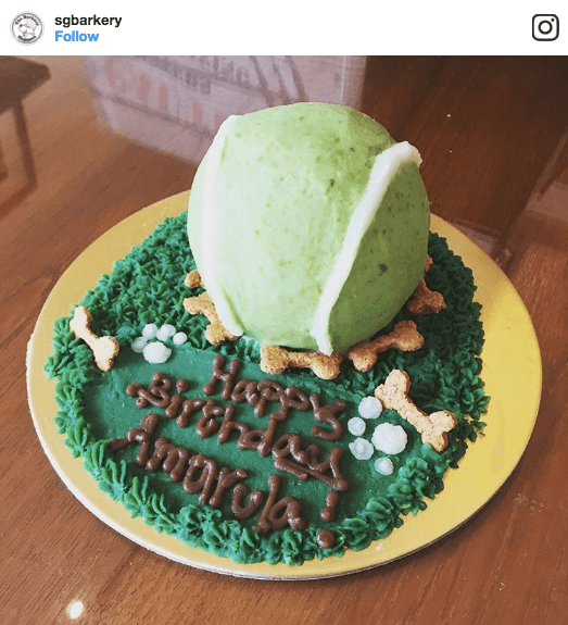 The Barkery Tennis Ball Dog Cake