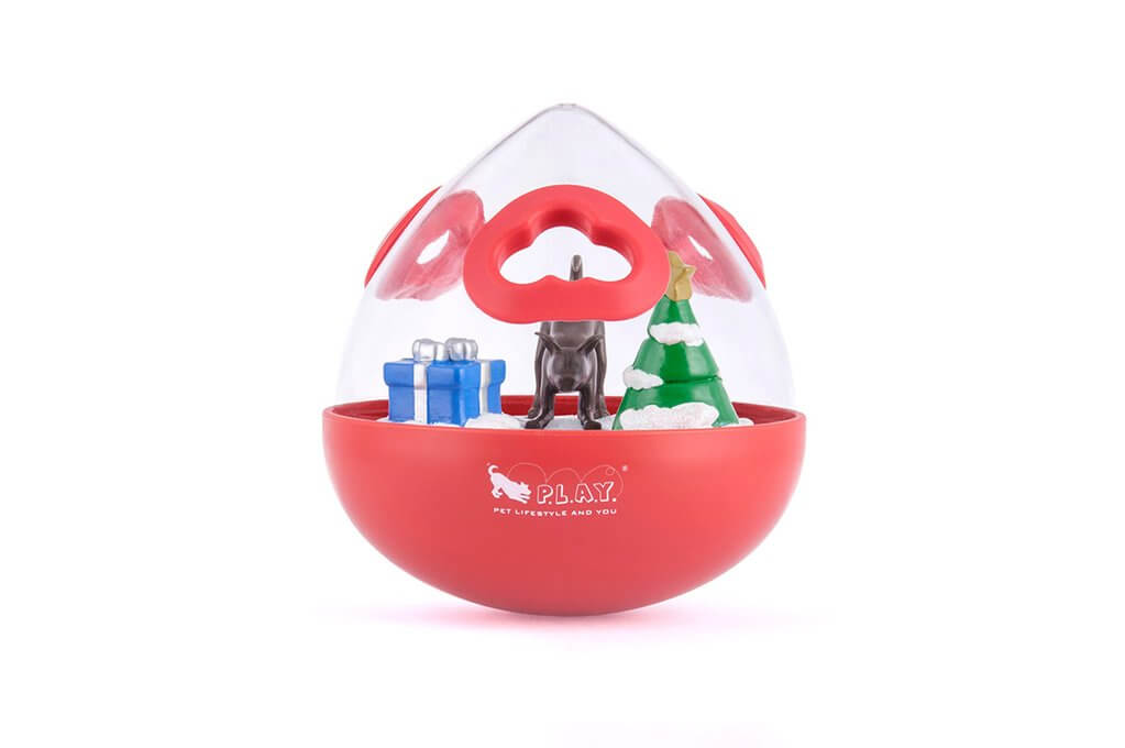 P.L.A.Y. Wobble Ball 2.0 Holiday Edition Interactive Dog Toy   Vanillapup
